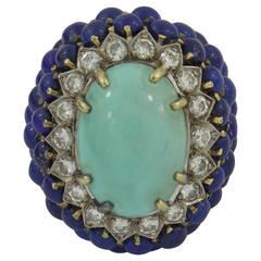 Diamond Lapis Turquoise Gold Cocktail Ring