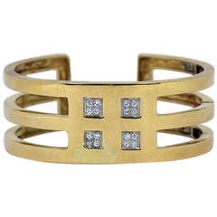 Tiffany Gold and Diamond, Hinged Bangle Bracelet