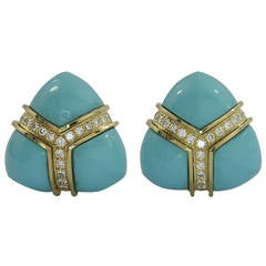 Turi Turquoise Diamond Gold Triangular Earrings
