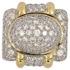 Diamond Gold Platinum Dome Ring