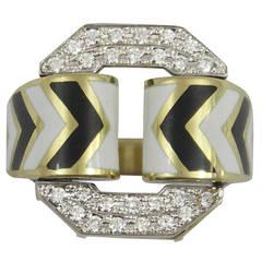 David Webb Black and White Enamel Diamond Gold Ring