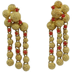 1960s Cartier Cabochon Coral Gold Chandelier Earrings