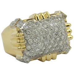 Large Diamond Gold Geometric Motif Ring