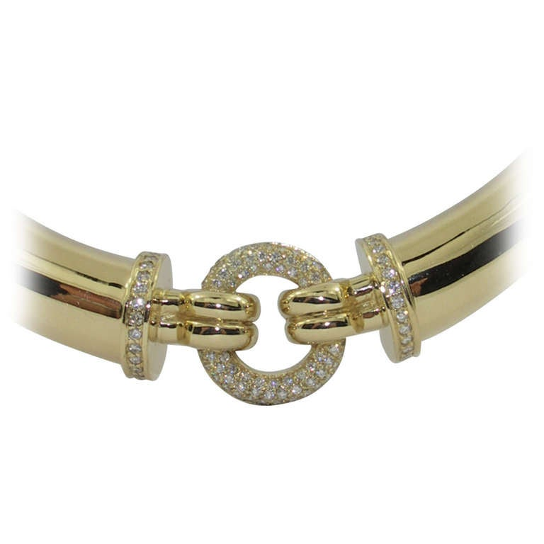 Gold Choker Necklace with Pave Set Disc