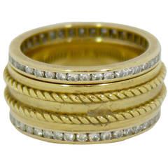 A Trio of Tiffany Diamond Gold Bands