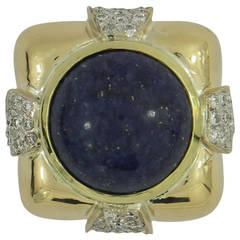 Andrew Clunn Lapis Lazuli Diamond Gold Ring