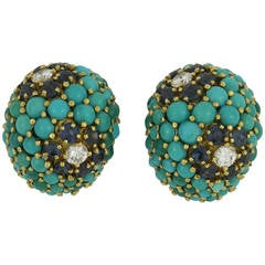 Cabochon Turquoise Sapphire Diamond Gold Clip-On Earrings