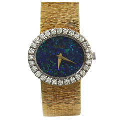 Piaget Lady's Yellow Gold Black Opal Dial Wristwatch