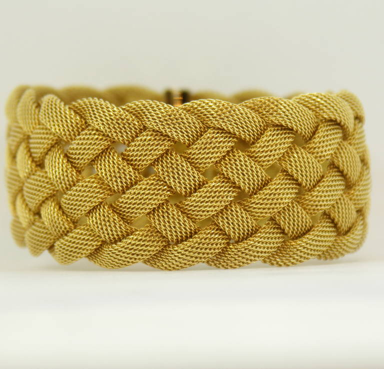 Tiffany And Co Gold Woven Mesh Bracelet For Sale At 1stdibs