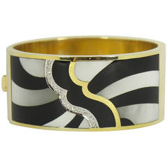 Asch Grossbardt Onyx Diamond Mother of Pearl Gold Wide Cuff Bangle