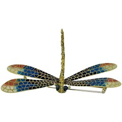 Large Enamel Diamond Gold Dragonfly Brooch