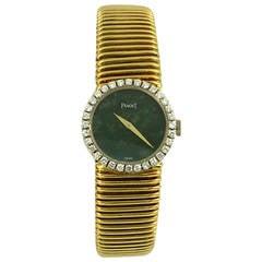 Piaget Lady's Yellow Gold Diamond Bezel Jade Dial Wristwatch