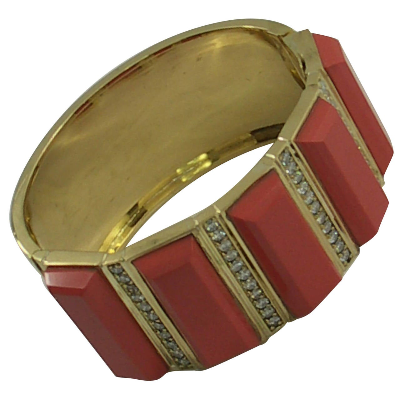 Gold Cuff Bracelet with Coral Colored Slabs and Diamonds