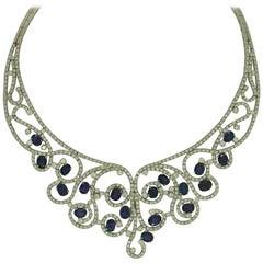 Sapphire Diamond Gold Necklace