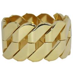 Wide Gold Diagonal Link Bracelet