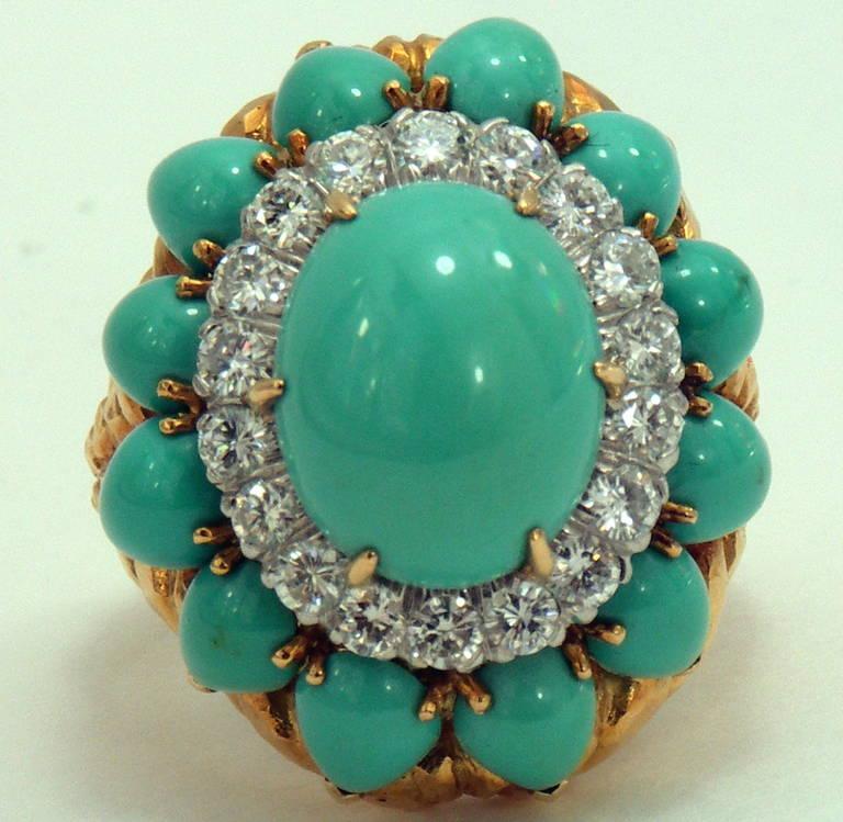 David Webb Turquoise Diamond Gold Ring Image 2