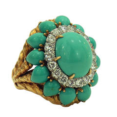 David Webb Turquoise Diamond Gold Ring