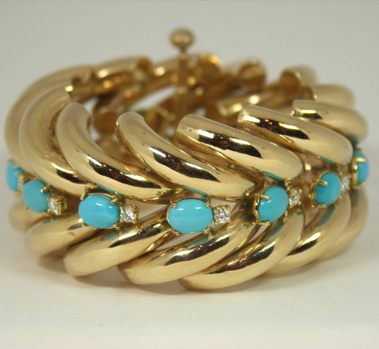 Split Design Turquoise Diamond Gold Bracelet 2