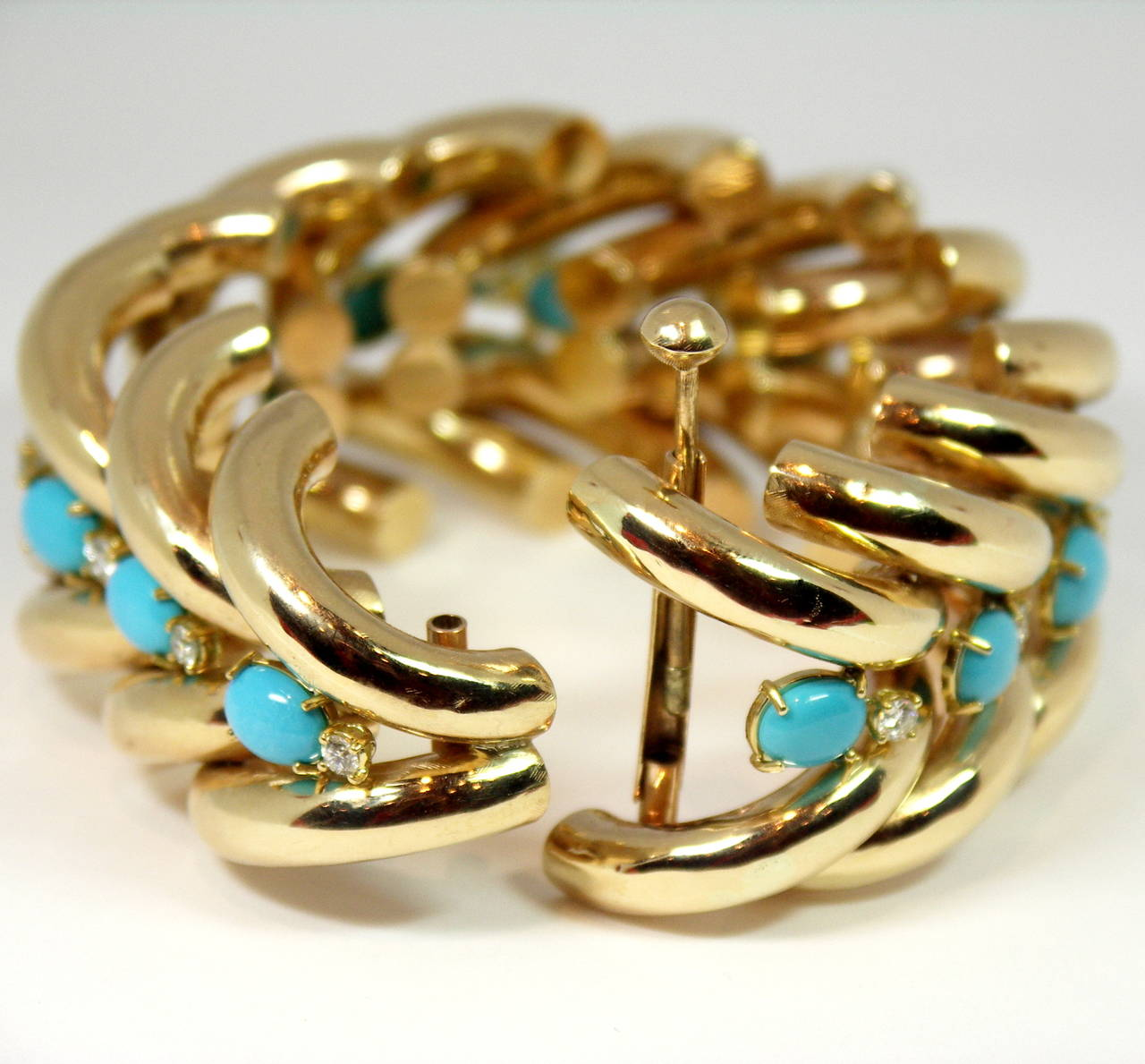 Split Design Turquoise Diamond Gold Bracelet In Excellent Condition For Sale In Blue Ridge, GA