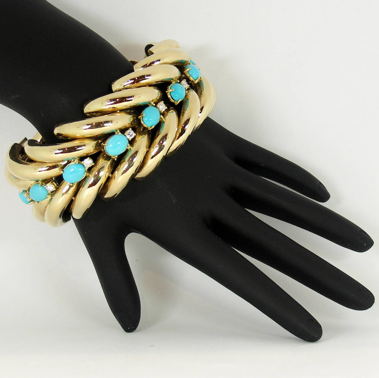 Split Design Turquoise Diamond Gold Bracelet 6