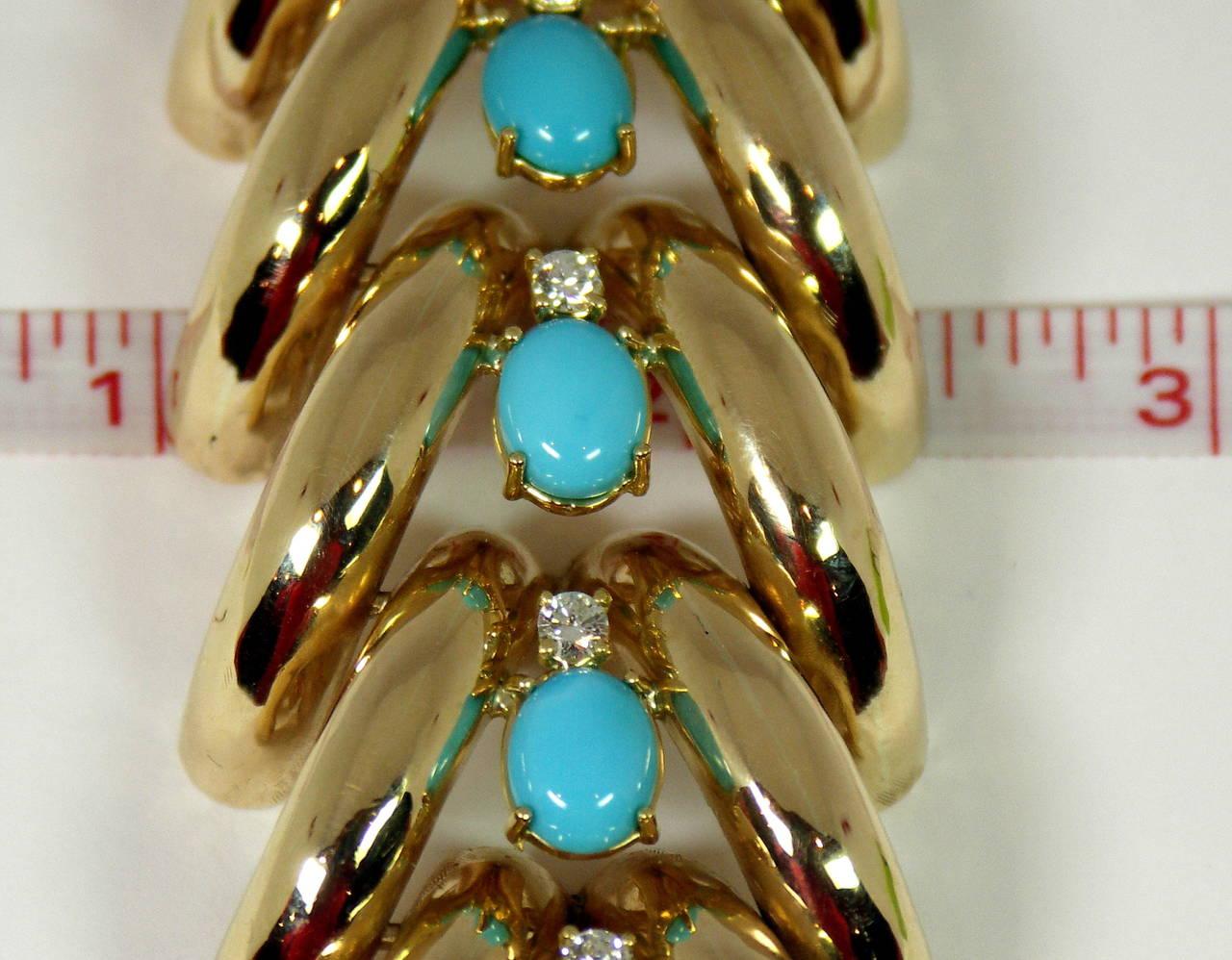Split Design Turquoise Diamond Gold Bracelet 4