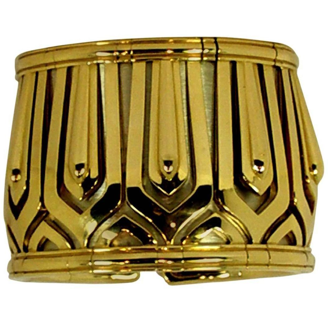 Cartier Wide Gold Pharaon Cuff Bangle Bracelet