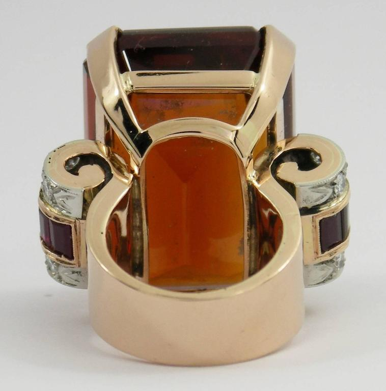 Retro Citrine Ruby Diamond Gold Platinum Ring In As new Condition For Sale In Blue Ridge, GA