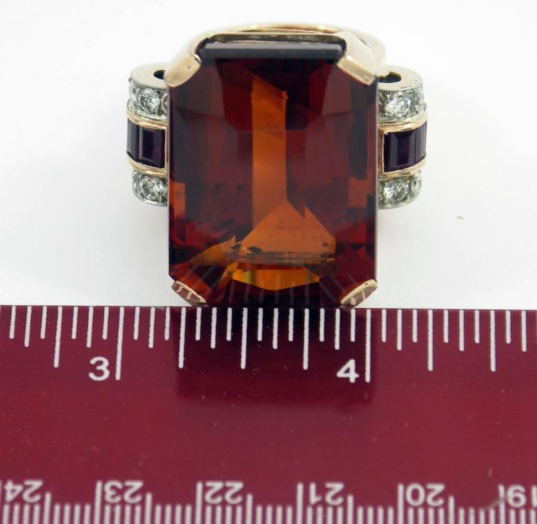 Retro Citrine Ruby Diamond Gold Platinum Ring For Sale 1