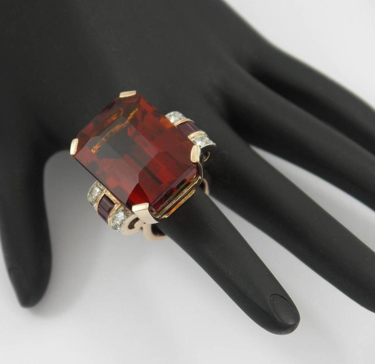 Retro Citrine Ruby Diamond Gold Platinum Ring For Sale 2