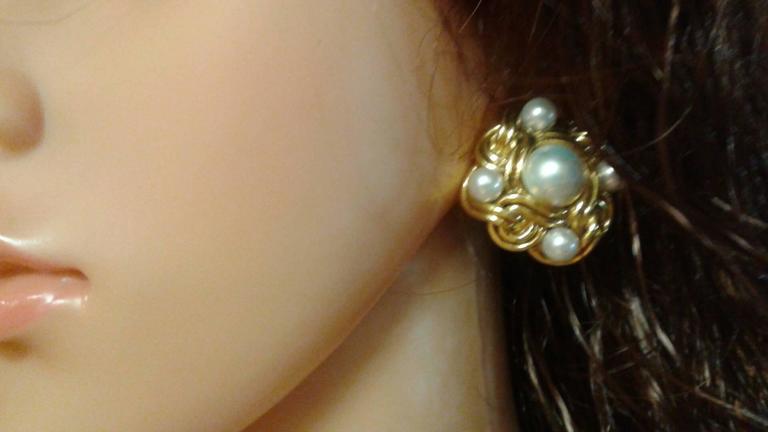 Women's Woven Pearl Gold Button Earrings  For Sale