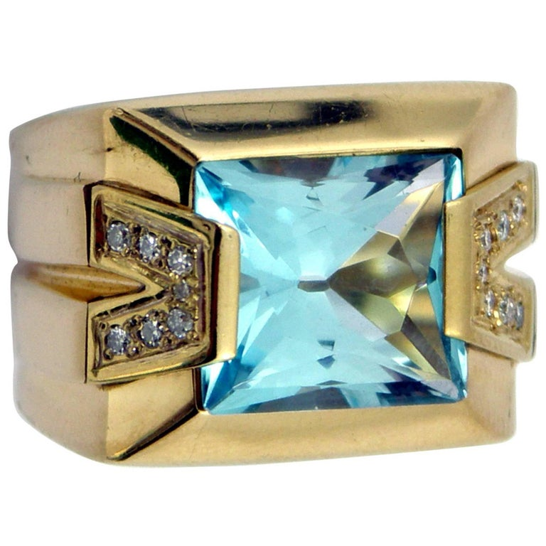 Versace Gold Topaz Diamond Ring For Sale