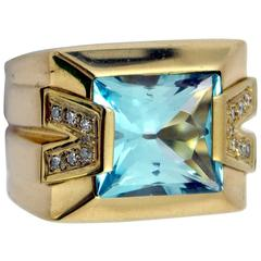 Versace Gold Topaz Diamond Ring