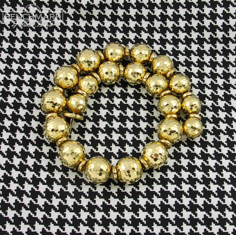 David Webb Hammered Gold Ball Necklace 3