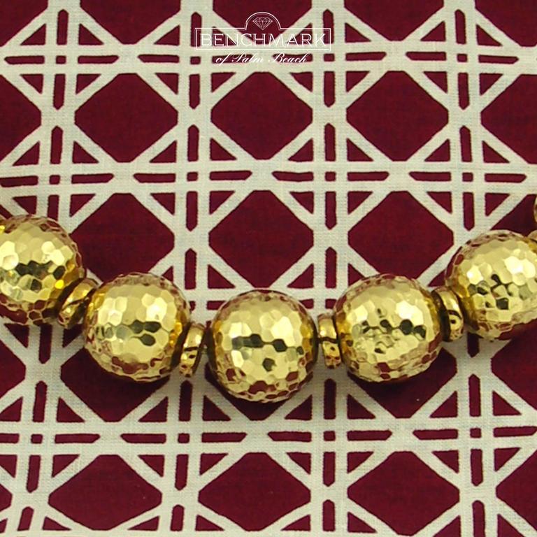 David Webb Hammered Gold Ball Necklace 5