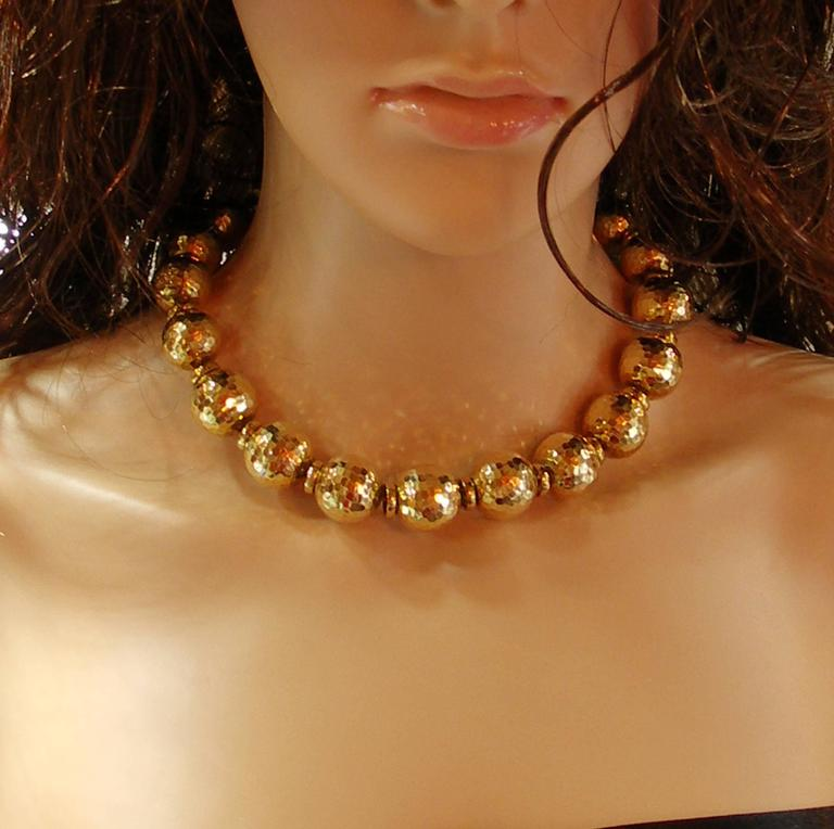 David Webb Hammered Gold Ball Necklace 2