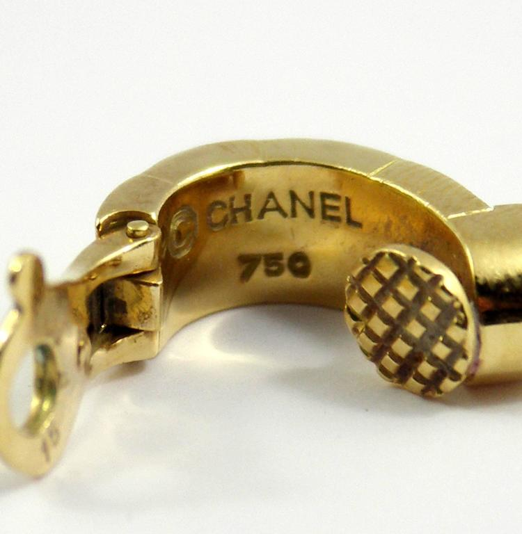 Chanel Yellow Gold Earrings For Sale 2