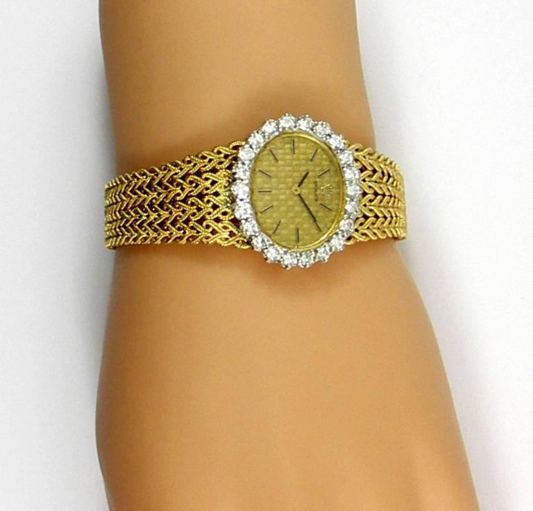 Women's Rolex Ladies Yellow Gold Diamond Bezel Vintage Manual Wind Watch/ Wristwatch For Sale