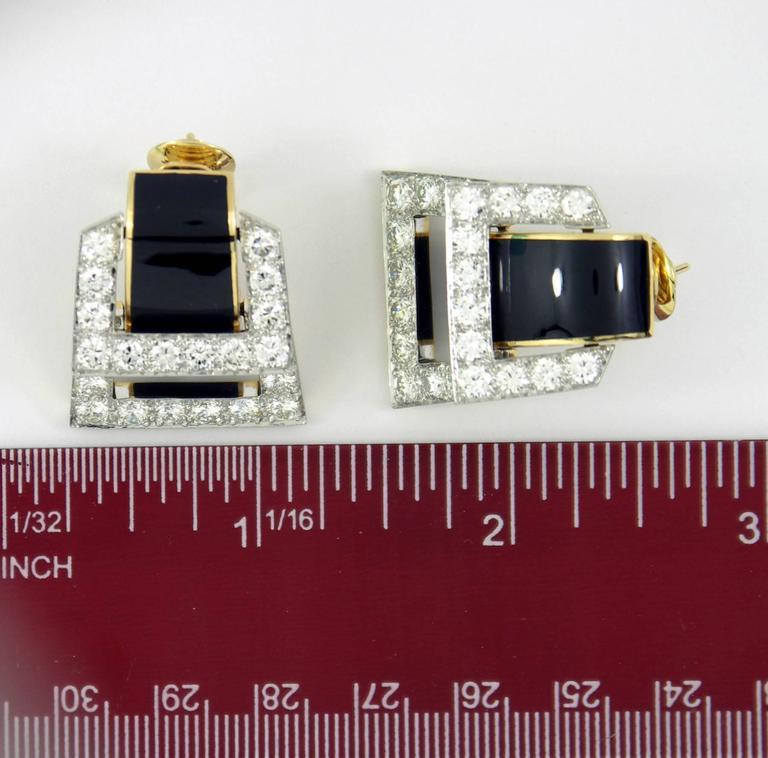 David Webb Enamel Diamond Gold Hinged Earrings For Sale 1