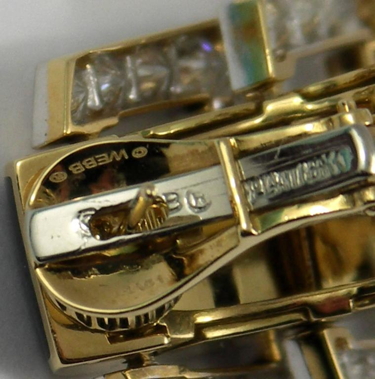 David Webb Enamel Diamond Gold Hinged Earrings For Sale 2
