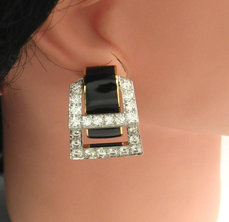David Webb Enamel Diamond Gold Hinged Earrings 3