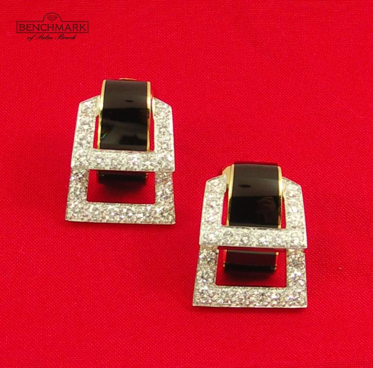 David Webb Enamel Diamond Gold Hinged Earrings For Sale 3