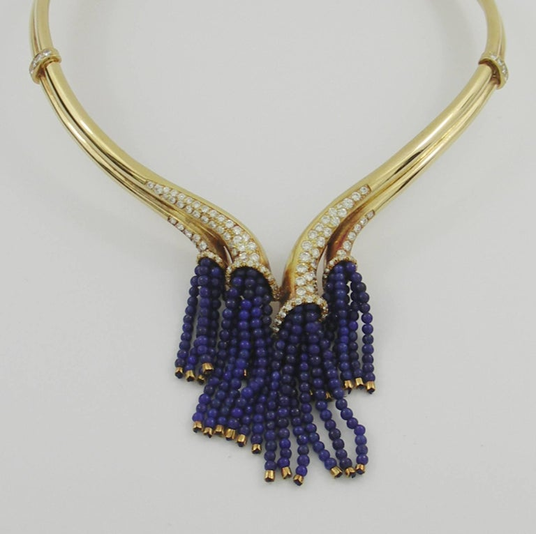 Gold Necklace with Diamonds and Lapis Bead Tassels In Excellent Condition For Sale In Blue Ridge, GA