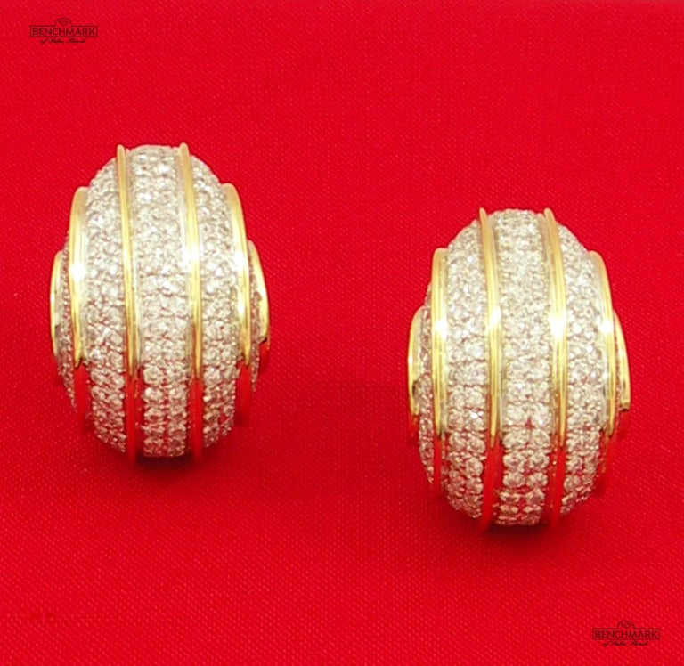 Women's or Men's Bombe Gold and Diamond Earrings For Sale