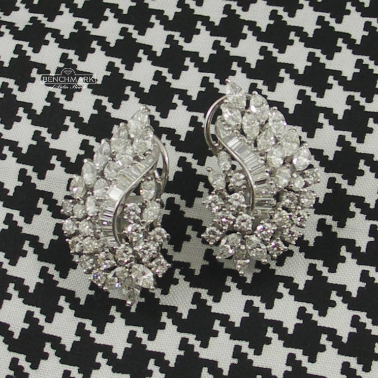 Diamond and White Gold Cocktail Earrings For Sale 1