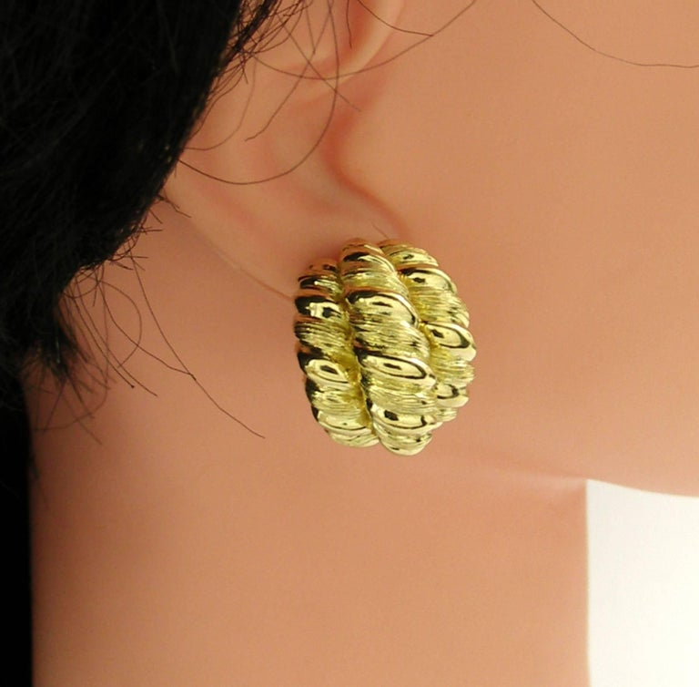 Women's Yellow Gold Twisted Rope Earrings For Sale