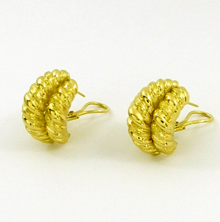 Yellow Gold Twisted Rope Earrings For Sale 1