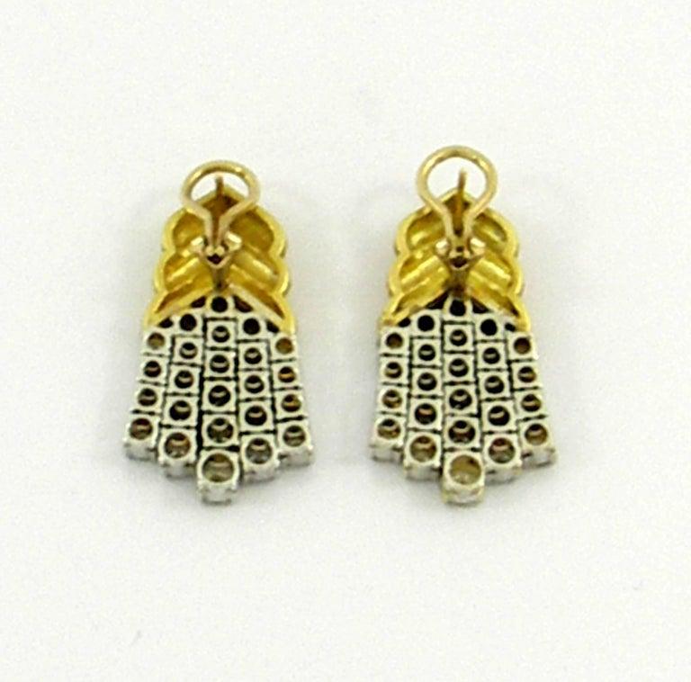 Geometric Gold Diamond Hanging Earrings For Sale 1