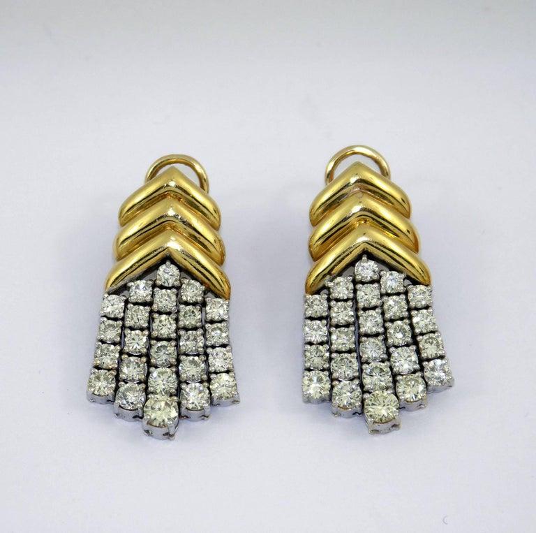 Women's Geometric Gold Diamond Hanging Earrings For Sale