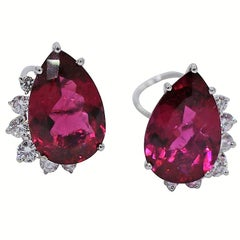 Marlene Stowe White Gold Diamond and Rubellite Tourmaline Earrings
