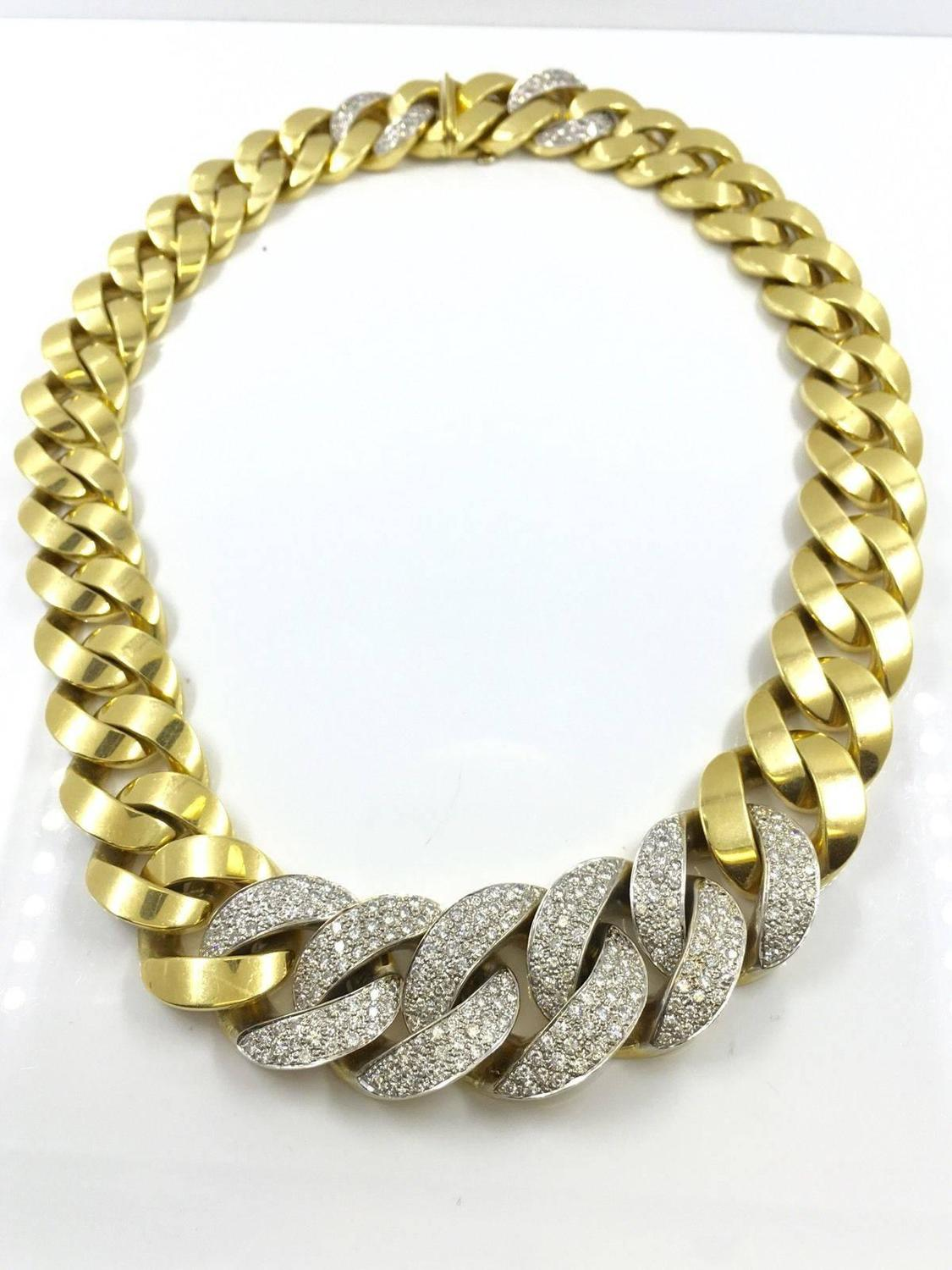Vintage Italian 18k Gold Cuban Links With Diamond Chain At